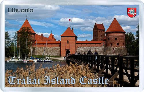 Acrylic Fridge Magnet: Lithuania. Trakai Island Castle View