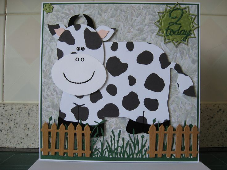 Anna Marie cow template, Tattered Lace grass, Marianne fence, made for my dear little great nephew