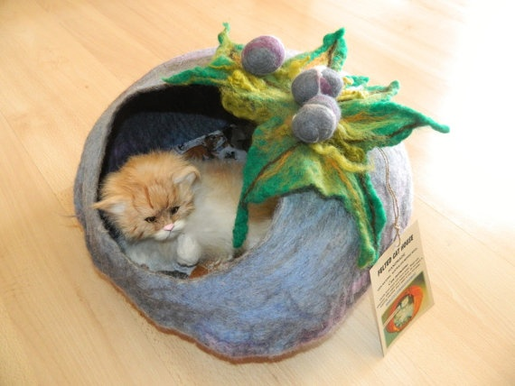 Cat bed/ No 33 /Size L, XL/Cat cave with FREE Cat Ball/Cat house/Handmade/Pets bed/Dog bed/ Wool cat bed/Felted cat bed/Felted cat cave