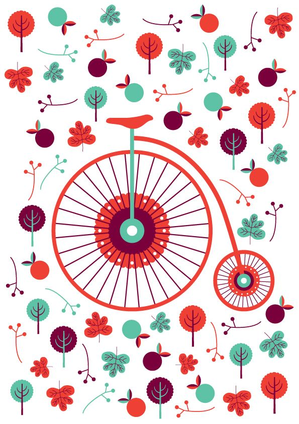 Colors / pattern / bike illustration