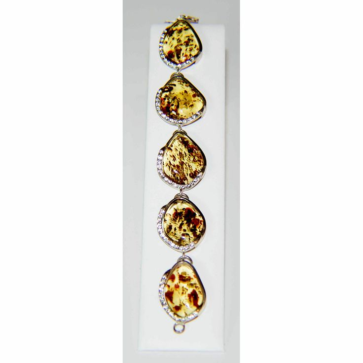 Cognac Amber And Cz Bracelet- $360.00