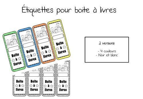 étiquettes pour les boites à livres, en couleurs ou en noir et blanc!