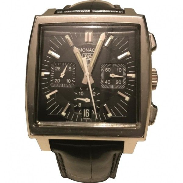 Pre-owned Tag Heuer Monaco Watch ($2,000) ❤ liked on Polyvore featuring men's fashion, men's jewelry, men's watches, silver, mens silver watches, pre owned mens rolex watches and tag heuer mens watches