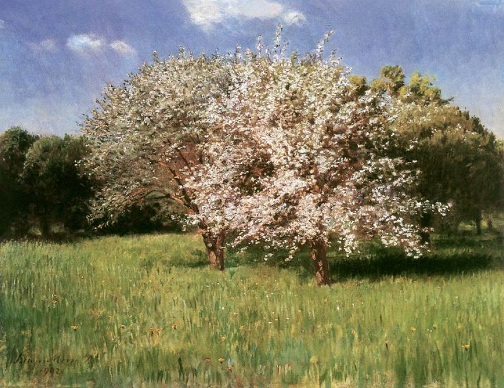 Blooming Apple Trees by Pál Szinyei Merse