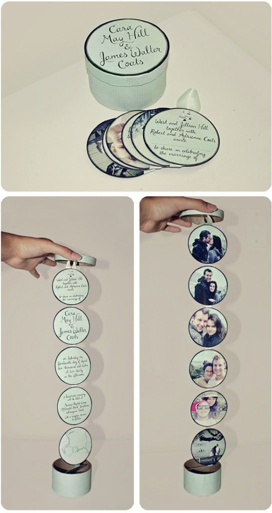 These dangling wedding invitations are a lot of fun, and actually pretty simple to DIY. Just print out the pieces yourself and grab a box and paper cutter that fits the box's size.