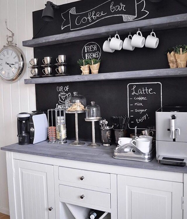 Kitchen chalkboards: Writing shopping lists has never been so fun! #kitchenchalkboards #creativehome #artforthekitchen #kitchendesign #coffeeshop #kitchen #chalkboard #diy #decoration