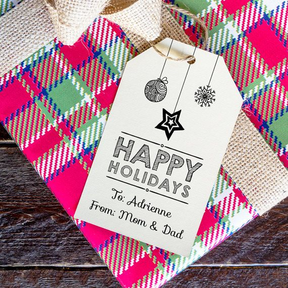 Happy Holidays Gift Tag Templates TWO Template by CrossvineDesigns