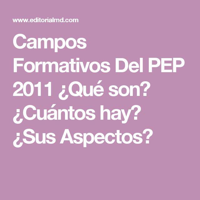 Campos Formativos Del PEP 2011 ¿Qué son? ¿Cuántos hay? ¿Sus Aspectos?