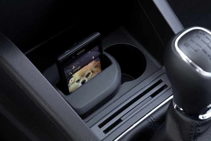 One of the many clever storage compartments – mobile phone holder #newfabia #fabia #skoda