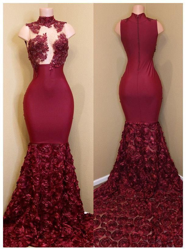 6edd2a7a4e428 Trumpet/Mermaid Prom Dress High Neck Burgundy Elegant Long Prom Dresses/Evening  Dress AMY791
