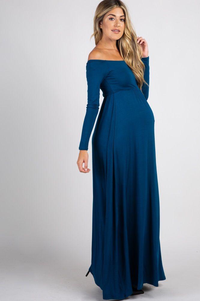 6c707fa75bd Dark Teal Solid Off Shoulder Maxi Dress | Wedding gowns | Maternity ...