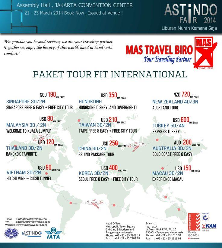 Tour Murah Ke Macau 3 hari 2 malam Experience Macau segera booking sekarang dan issued di pameran !! dapatkan harga termurah untuk liburan tahun ini tanggal 21 - 23 march on jcc senayan Astindo Fair 2014 for reservation call :021 - 55780317 / 53161608 or e-mail : info@mastravelbiro.com