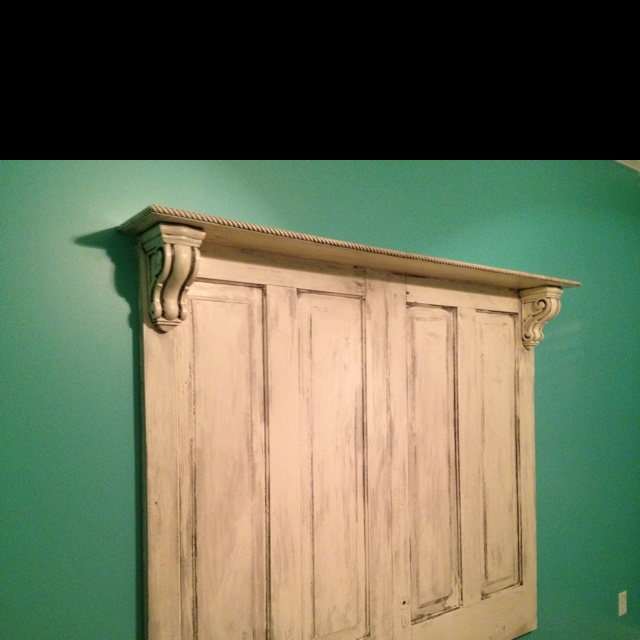 headboard made from old doors for the bedroom