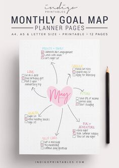 Goal Planner Pack Printable, 12 Pages | Created by @IndigoPrintables  Your goal planner will help you map out your goals for the year ahead and
