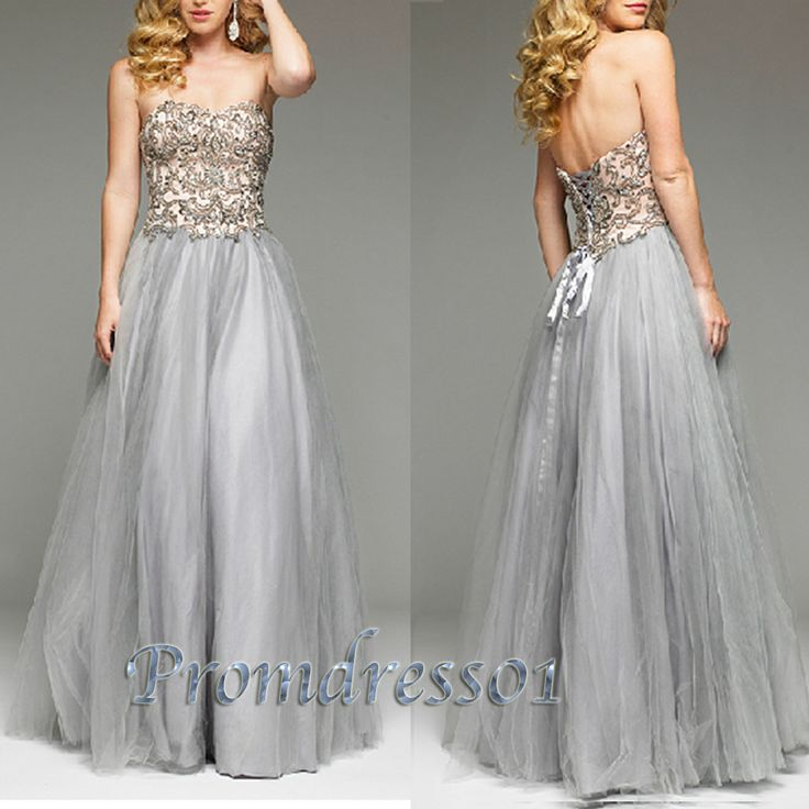 prom dress 2015, elegant silver grey sweetheart rhinestone sequins chiffon long prom dress for teens, ball gown, homecoming dress, evening dress #promdress #coniefox