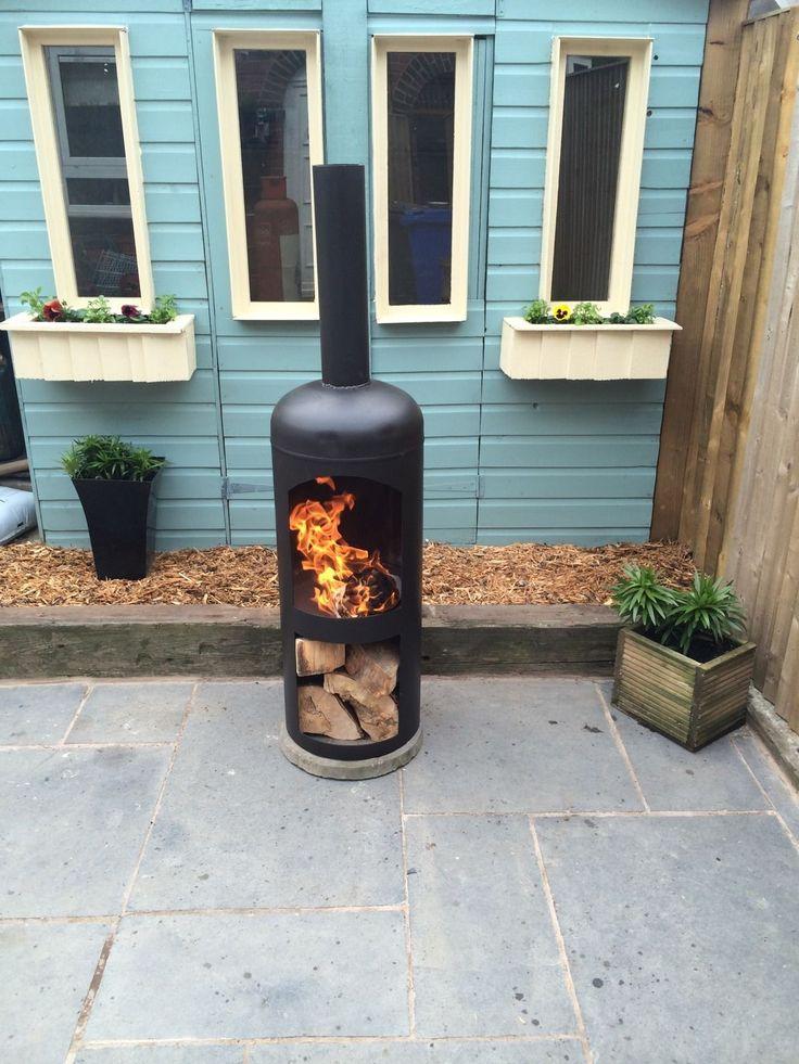 Chimenea Patio Garden Woodburner Log Woodburning stove Gas Bottle used upcycle
