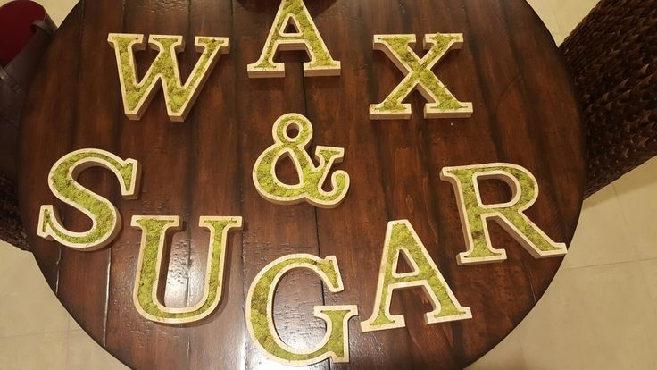 #walldecor Wood letters with moss inside that will be mounted on Wall in my waxing/Sugaring salon in #sanclemente #sugaringoc #waxing #succulents #diy #decor #cute