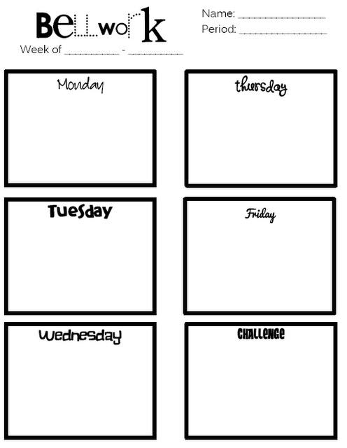 Bell Work Page - Could be used by the teacher to plan bell work for the week or could be used by the students to complete bell work