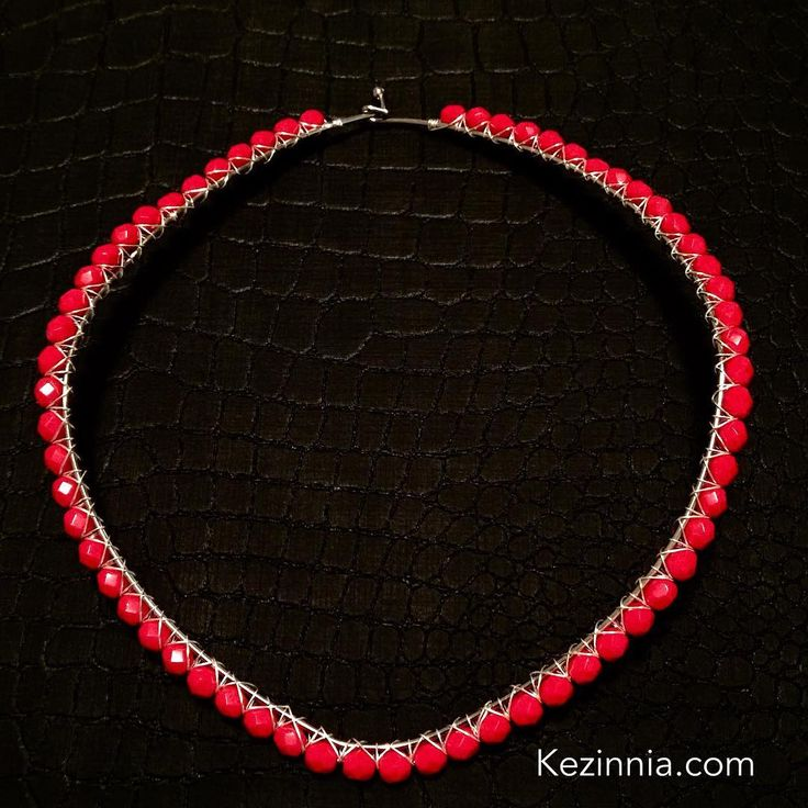 Red Czech Glass Beads Wire Wrapped Necklace