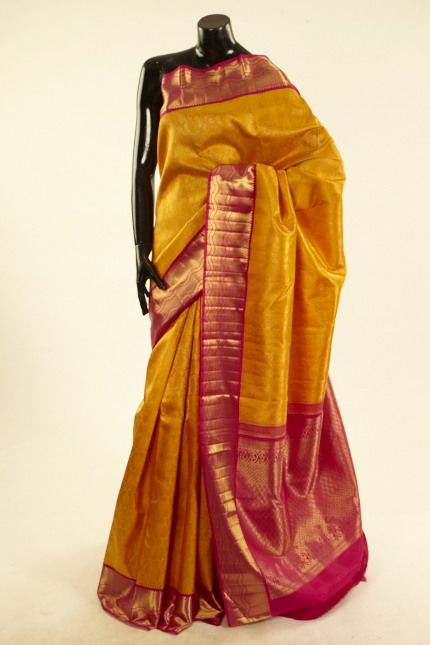 Kancheepuram, Kanjipuram- silk golden yellow saree with blouse