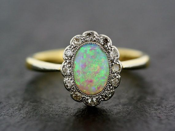 Art Deco Opal Ring Antique 1930s Opal And Diamond Cluster
