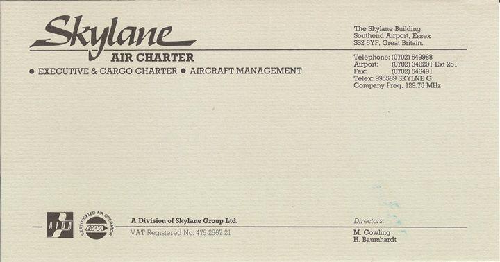 SKK Skylane Air Charter letterhead 1988 to 1992 created by Hans Baumhardt