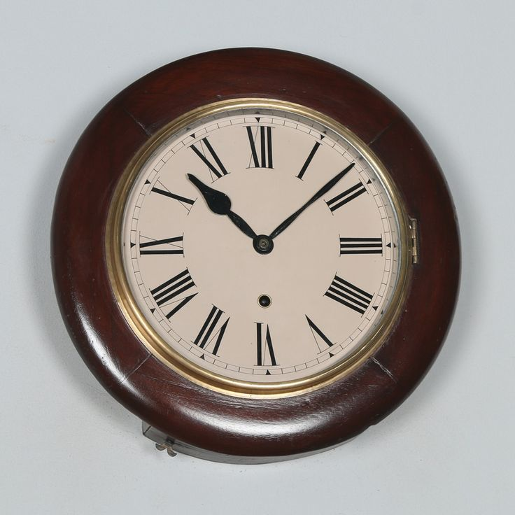 Antique 14″ Mahogany Ansonia Railway Station / School Round Dial Wall Clock (Timepiece)