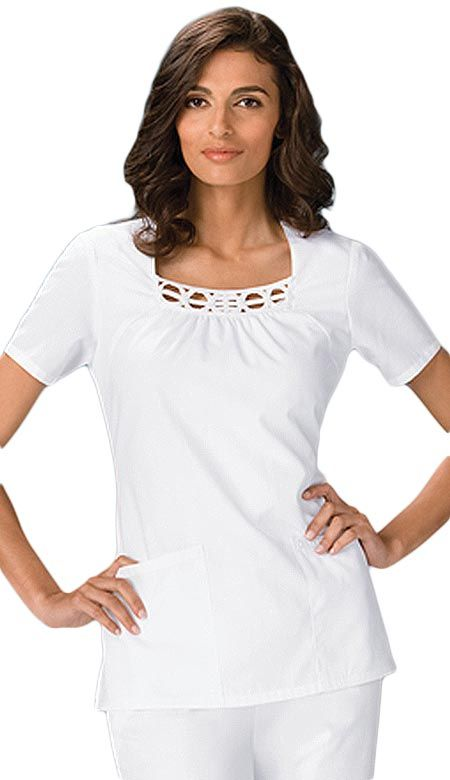 Cherokee Medical Uniforms features this stylish white scrub top for women. This fashion scrub top is trimmed in southache that provides a unique designer touch.