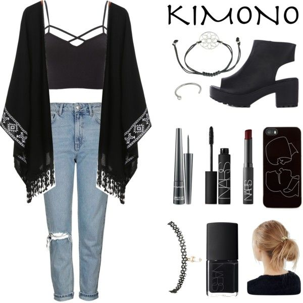 grunge kimono outfit by saj357 on Polyvore featuring Charlotte Russe, Topshop, Wet Seal, Zero Gravity, Urban Outfitters, NARS Cosmetics, MAC Cosmetics, kimonos and plus size clothing