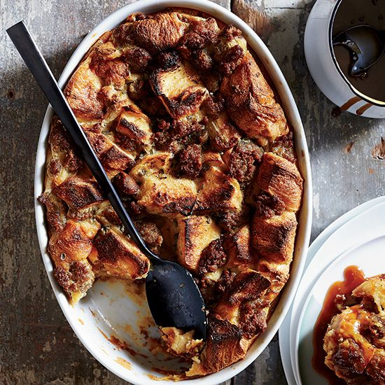 "Sausage-and-Maple Bread Pudding | This fantastic breakfast bread pudding is a fun, all-in-one take on French toast with maple syrup and sausage. Melted ice cream enriches the ""custard"" base."
