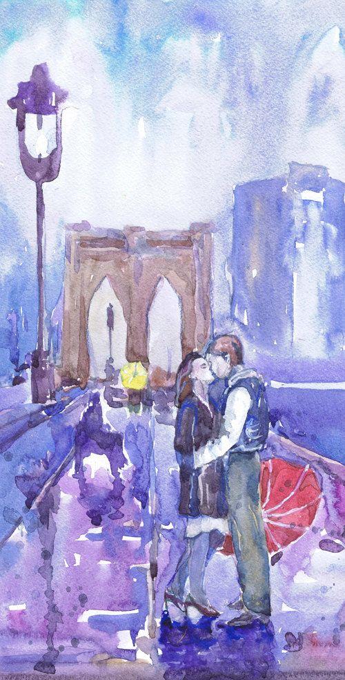 New york art, valentines gift, love art, watercolor painting, gift for couple , kiss art, brooklyn bridge , umbrella print, rain art  High quality fine