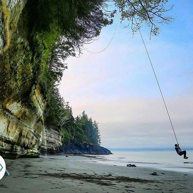 Mystic Beach is a beautiful spot along the Juan de Fuca hiking trail, only 40 minutes from Sooke, B.C.. It also has a cool rope swing! Photo by  @chaseteron - Pin curated by @Poppytalk for @explorecanada