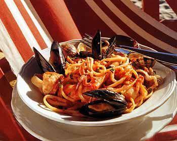 Linguine with Shellfish Sauce recipe - lobster, squid, prawns etc.