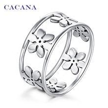 CACANA acier inoxydable anneaux pour les femmes Cinq pétales de mode bijoux en…
