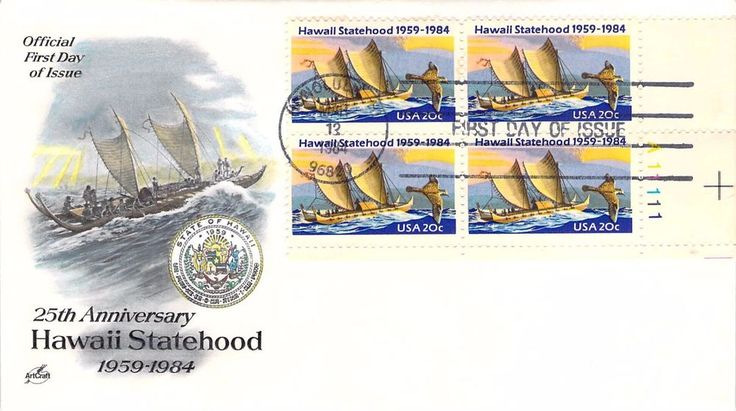 1984 Hawaii Statehood Hand Colored Art Craft  First Day Cover