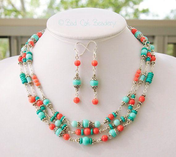 Koraal Turquoise zilveren sieraden Set moeders de Gift van de dag