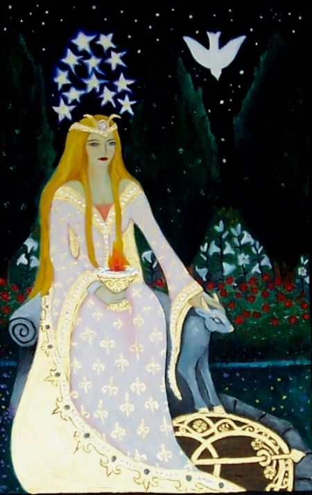 The Empress tarot card by Arlene Marie Hebert - the symbol on her shield is the cover of the Chalice Well in Glastonbury UK.  Also appears to be a Chalice (or Grail) in her hand.  Wondering if she represents Guinevere in Camelot.  Also curious whether there is significance to 12 stars above her head.