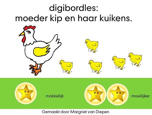 Digibordles - moeder kip en haar kuikens