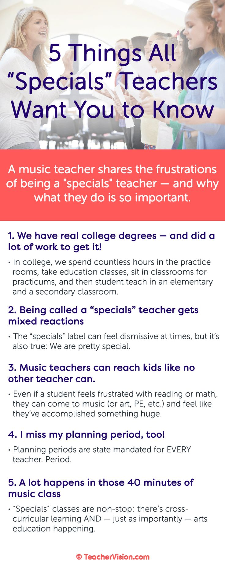"""5 Things """"Specials"""" Teachers Want You to Know: One music teacher shares the frustrations of being a """"specials"""" teacher — and why what they do is so important."""