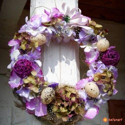 Wianek wielkanocny hortensje - Wielkanoc - Ozdoby świąteczne