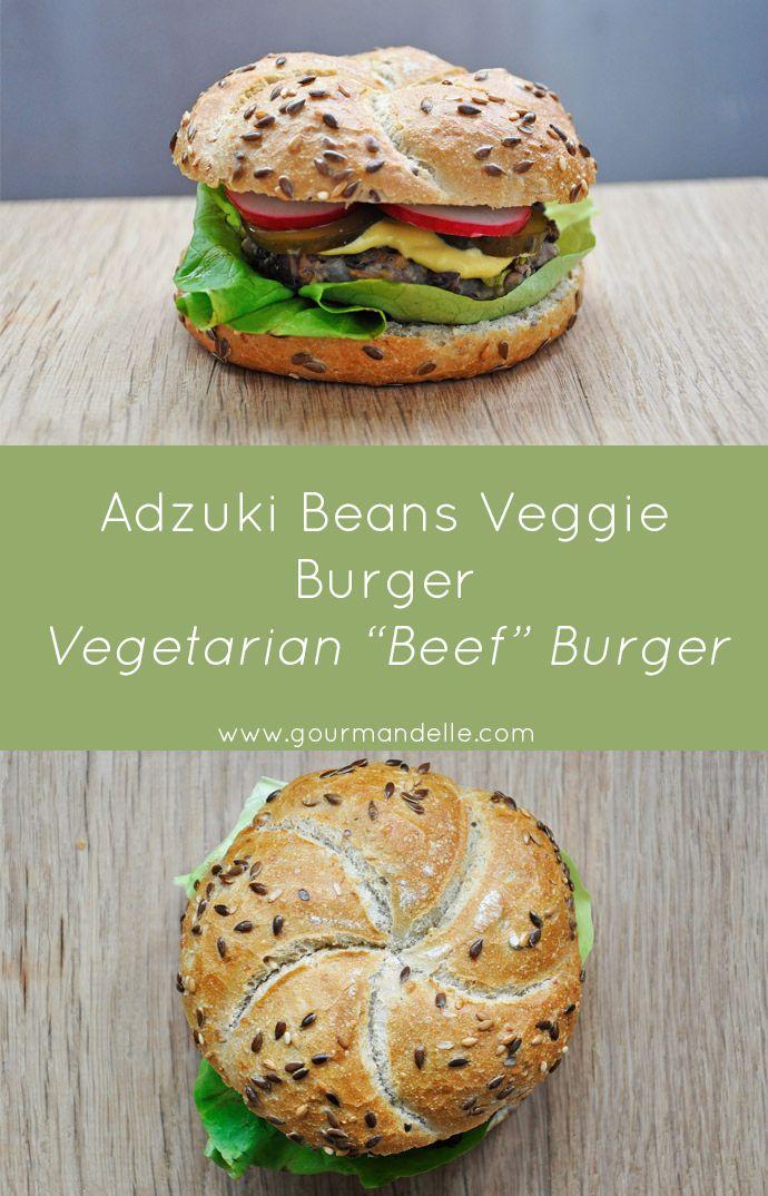 These adzuki beans veggie burger patties are vegetarian, healthy and rich in proteins! These patties resemble very much the texture and taste of ground beef. | gourmandelle.com | #adzuki #burger #vegetarian
