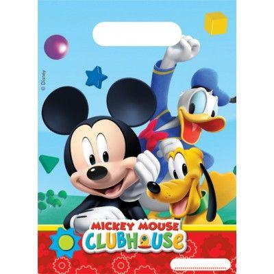 """Ces  6 sacs cadeaux Mickey  seront parfaits pour offrir de petits cadeaux, confiseries aux copains de votre enfant lors de son goûter d'anniversaire sur lev thème Mickey.   Pratique, le petit encadré blanc avec les pointillés pour écrire le prénom de l'enfant à qui l'on offre la pochette surprise.   Ces pochettes sont en plastique et  Mickey ,  Donald  et  Pluto  sont représentés avec la mention """" Mickey Mouse Club House """" sur un décor multicolore.   Assiettes, gobelets, serviettes, cartons…"""