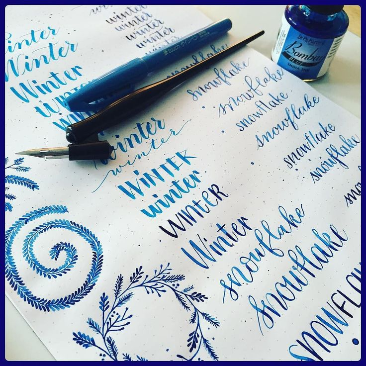 My first @handletteredabcs theme word: winter. I wanted to try my blue Bombay…