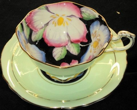 Paragon MAUVE PINK Corsage Lime  Black Tea cup and saucer