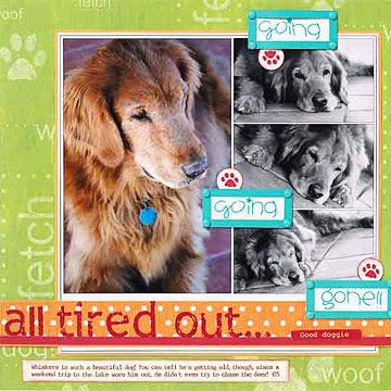 Dog Scrapbook Layout Ideas: Tired Out Dog Layout...A walk in the park