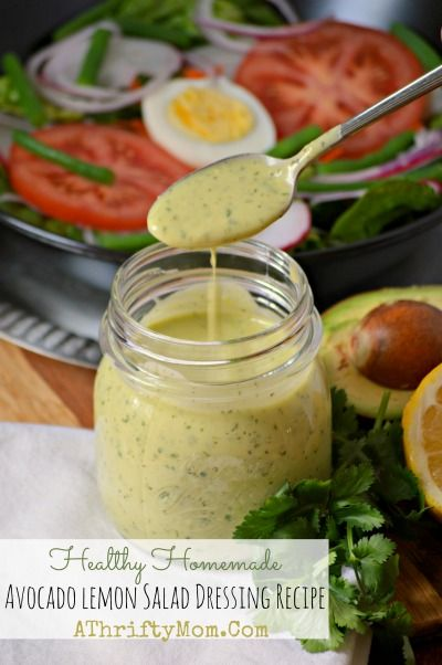 Healthy Homemade Avocado Lemon Salad Dressing Recipe ~ Lunch or Dinner Idea - One of my most favorite healthy dressing recipes!