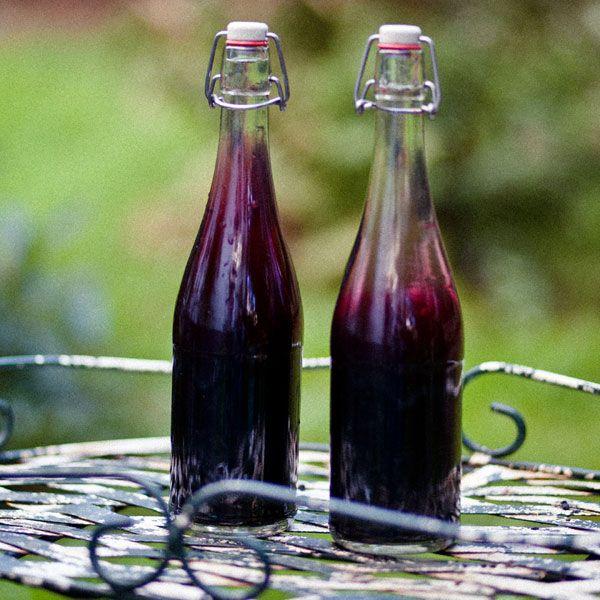 Sebstgemachtes Holunder-Schnaps mit Holunderbeeren aus dem eigenen Garten und Vodka