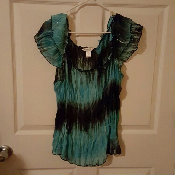Teal and black shirt Like new. Written once. Teal and black sheer crinkle shirt Christopher & Banks Tops Blouses