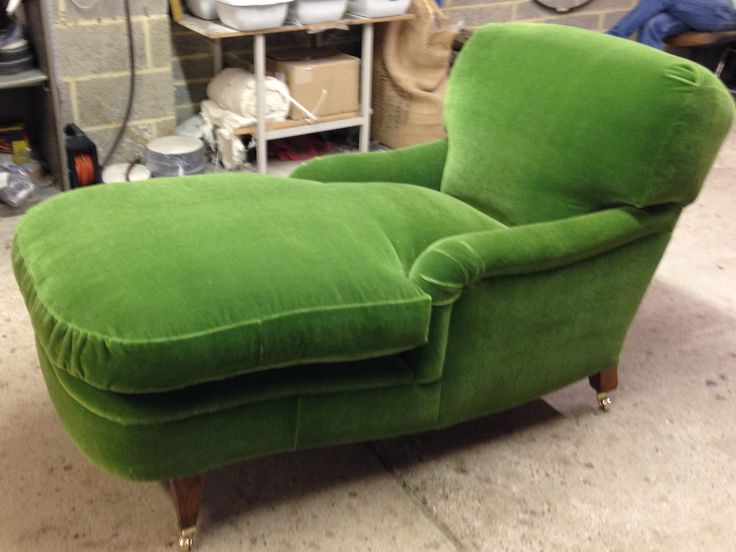 Our new daybed (chaise- longue), an updated version of an Edwardian original. Upholstered here in green mohair velvet. Can be covered in your own cloth or one of our leathers or sheepskins.Please email for more information