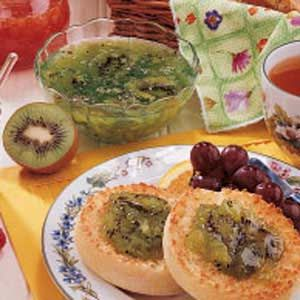 Pineapple Kiwi Jam. 4 kiwifruit, peeled and thinly sliced 3 cups sugar 1 can (8 ounces) crushed pineapple, undrained 1/4 cup lime juice 1 pouch (3 ounces) liquid fruit pectin 3 drops green food coloring, optional